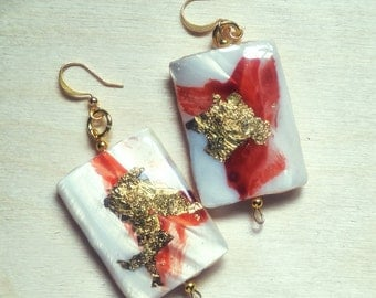 CUSTOM ORDER dangle earing red and gold shell resin ooak christmas gift bridesmaid gift  for her hand painted hand made chic unique design