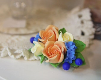 Flower hair clip, handmade flowers jewelry, floral hair accessories, bridesmaid, gift for her, barrette, flower barrette