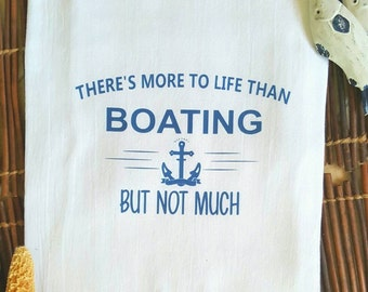Flour Sack Towel, Nautical Gift, Nautical Towel, Kitchen Towel, Dish Towel, Tea Towel, Anchor Towel, Boat Towel