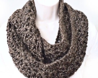 Brown Infinity Scarf, Brown Loop Scarf, Brown Scarf, Brown Crochet Scarf, Mocha Scarf, Brown Infinity Scarves, Chunky Scarf, THE ALBANY
