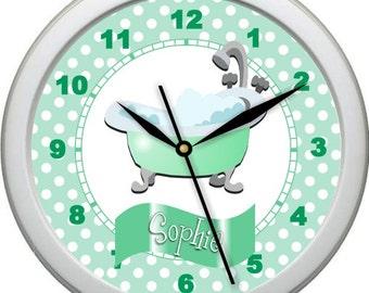 "Green Antique Bubble Bath Tub 10"" Personalized Child's Bathroom Decor Wall Clock Child's Room Gift"