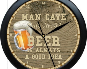 """Man Cave Rule No 54 Beer Personalized 10"""" Wall Clock"""