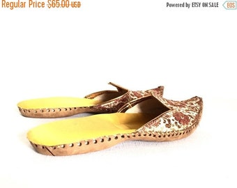 20% OFF Vtg 70s Moroccan Slipper Shoes Top Pointed Toe Leather Sole