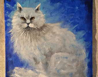 Original acrylic painting, Le Chat - acrylic painting on linen cardboard, contemporary painting, acrylic artwork, small acrylic paint