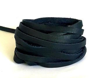 "Navy Blue Leather Strip 7mm 36"" / Navy Lambskin Strip / Blue Leather Straps / Lambskin Strips / Lambskin Strip / Bracelet Leather"
