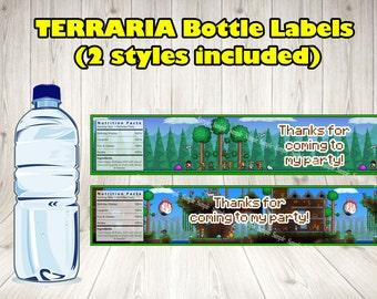 TERRARIA BOTTLE LABELS. Terraria party label.Terraria printable.Terraria birthday .Terraria bottle.Terraria decoration. Terraria game