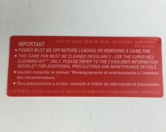 Red Super Nintendo Back Cartridge Labels