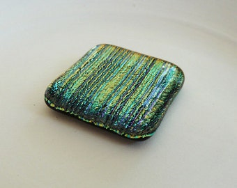 Dichroic cabochon - gold/orange/blue/green stripes