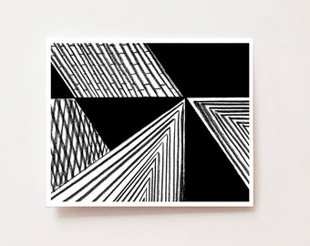 Modern geometric abstract wall art, Black and white Abstract - Fine art Giclee print, abstract, modern, black and white, chic, lines, modern