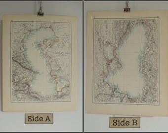 Map Of Caspian Sea and Black Sea Vintage 1904