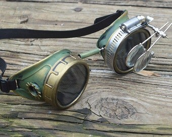 Green and Gold Steampunk Goggles with Gold Gears and Loupes Apocalypse Scientist Space Captain Motorcycle Cyber Sunglasses