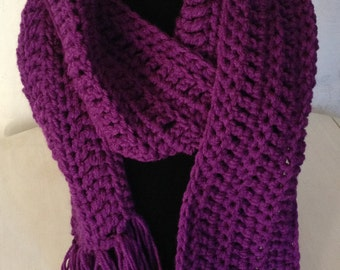 Classic Crochet Wrap Scarf in Plum