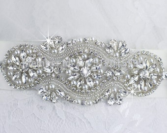 Bridal Sash, Bridal Belt, Wedding Sash, Beaded Belt, Crystal Sash, Rhinestone Belt, Wedding Dress Sash, Wedding Dress Belt 60