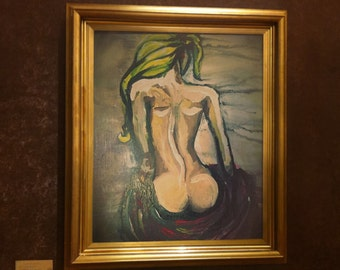 naked woman wall decor. Impressionist wall decor, woman wall decor, home wall decor. modern wall decor.naked back of woman painting