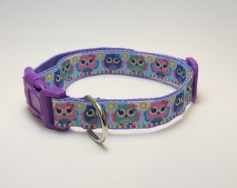 Purple Owls Dog Collar