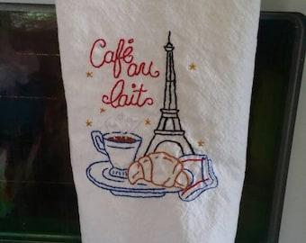 Cafe Au Lait Kitchen Towel Hand Embroidery Paris Theme Eiffel Tower Cotton