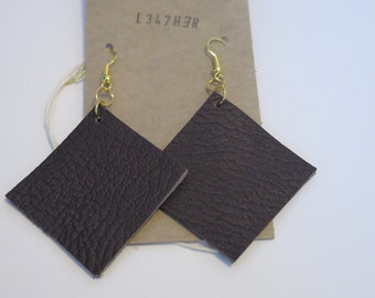 Brown leather square earrings