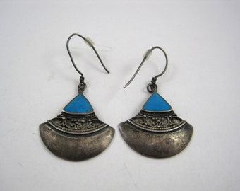 Ladies .925 Sterling Silver Native Indian Style Earring Set Turquoise Blue Teal Vintage