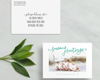 seasons greetings holiday card // personalized photo card // christmas card // hand lettering // custom holiday card // PRINTED holiday card