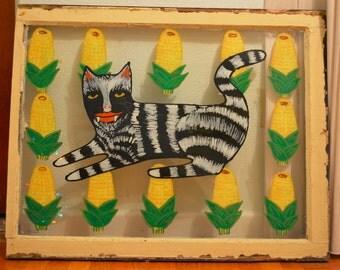 Cat in Corn Acrylic Painting on Vintage Window Pane