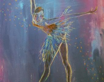 Ballerina mixed-media painting