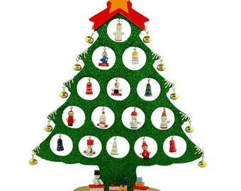 """12"""" Wooden Tabletop Christmas Tree with Miniature Christmas Ornaments- SKU # FT931127G"""