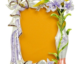 "7"" Faberge Orchid Flowers Enameled Russian Antique Style Picture Frame- SKU # F05-5"