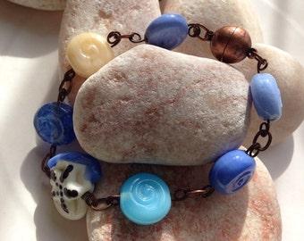 Ocean swirls bracelet with starfish focal bead Lampwork Bracelet SRA