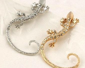Gecko earring cuff  Lizard ear cuff earring in SILVER or GOLD toned
