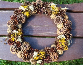 Pine Cone Wreath with Dried Flowers, Yarrow, Tansy, Bulrush.  Some cones upside down.  Front Door Wreath, Wall Decor, Gifts.