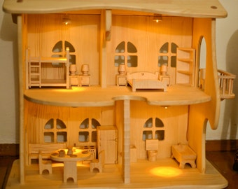 Summer outdoors Wooden illuminated dollhouse with furniture Montessori waldorf toys Woden toy Multi-storey house Apartments for toys