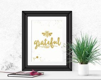 Be Grateful Wall Art, Gratitude Art, Digital Download,  Thanksgiving