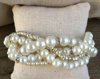 Braided cuff, ivory pearl bracelet, bridesmaids bracelet, pearl bracelet, statement bracelet, elegant bracelet, rhinestone and pearl, pearls