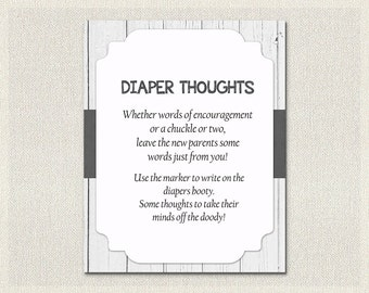 Diaper Thoughts Rustic White Wood | Advice for Parents to be | Black and White Baby Shower Games Gender Neutral Baby Shower BS-57