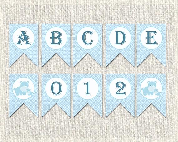 Printable Birthday Banner ~ Whole alphabet banner blue boys baby shower banner bunting happy