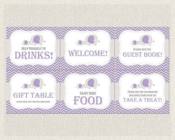 purple gray elephant theme baby shower 6 x 8x10 party signs girls