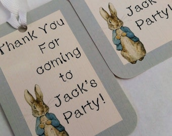 Peter Rabbit, Birthday thank you card, Christening, Baby shower Thank you personalised card tags