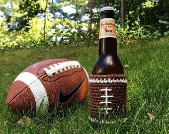 Football Cozy, Football drink holder, Beer cozy, Beer drink holder, Crochet cozy, Football