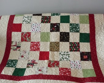 Traditional Christmas Patchwork with golden highlights