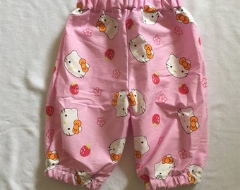 """Handmade Baby Girls Pants In """"Pink Kitty"""" Print Size 000"""