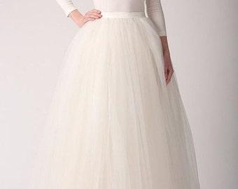 White Black Red Ivory Creamy Floor Length Tulle Tutu Skirt