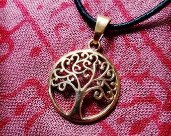 Golden brass tree of life pendant