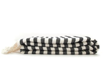 40% OFF Cabana Black Stripe Authentic Towel   Turkish Towel   Bath Towel   Beach Towel   Peshtemal Towel   Natural Cotton   Eco Friendly