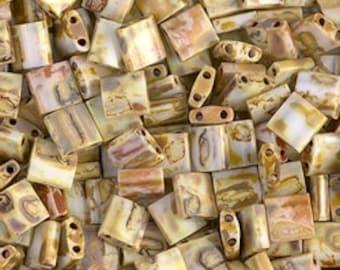 Tila Bead- Op Yellow Picasso #4512  Miyuki Tila Beads - 10 grams