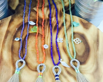 Long Bead Necklaces, Burlap Tassels, Swarovki Crystals, Mother of Pearls and Acrylic Charms, Gift for Her, Gift Wrapped