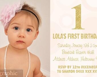 1st Birthday Invitations - Gold Glitter