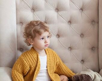 Mustard Long Baby Cardigan