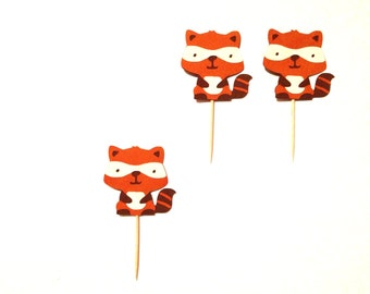 12 Raccoon Cupcake Toppers - Raccoon Birthday Party - Woodland Toppers -  Woodland Baby Shower - Woodland Birthday - Woodland Party Decor