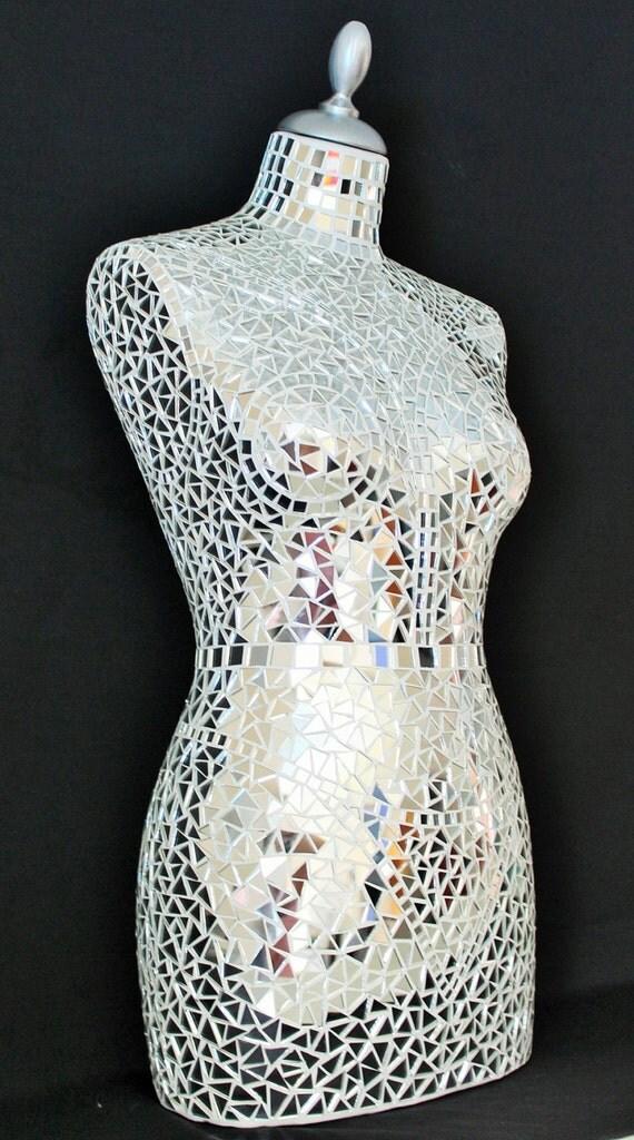 art culos similares a busto de maniqu costura mujer mosaico espejo en etsy. Black Bedroom Furniture Sets. Home Design Ideas
