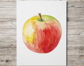 Apple poster Kitchen print Watercolor art Fruit print ACW309